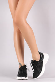 Qupid Mesh Lace Up Curved Platform Sneaker