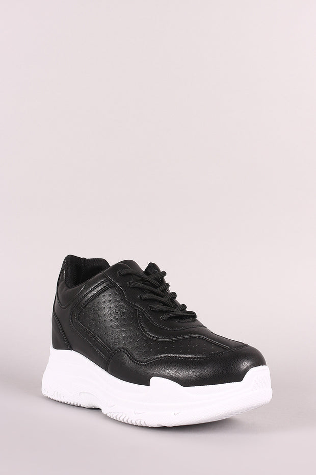 Qupid Perforated Lace-Up Platform Hidden Wedge Sneaker