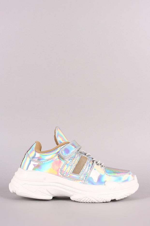 Holographic Patent Perforated Lace-Up Platform Sneaker