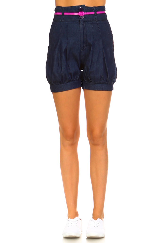 Women's Denim Blouson Shorts