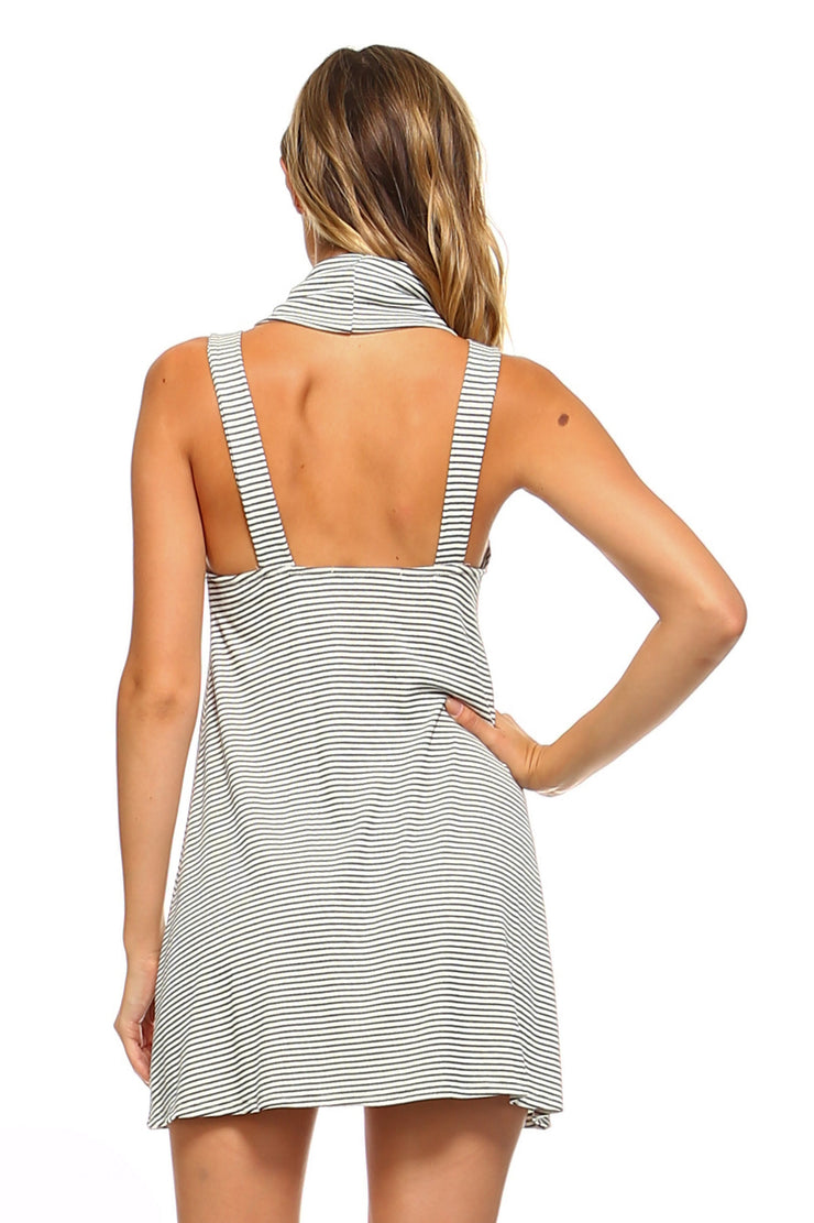 Women's Turtle Neck Striped Open Back Dress