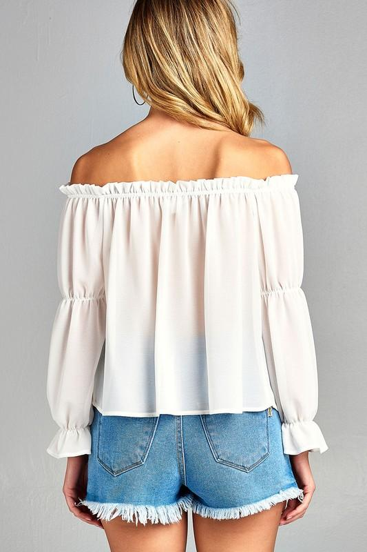 cac046a224759 Women s Puff Long Sleeve Ruffled Front Tie Off Shoulder Top