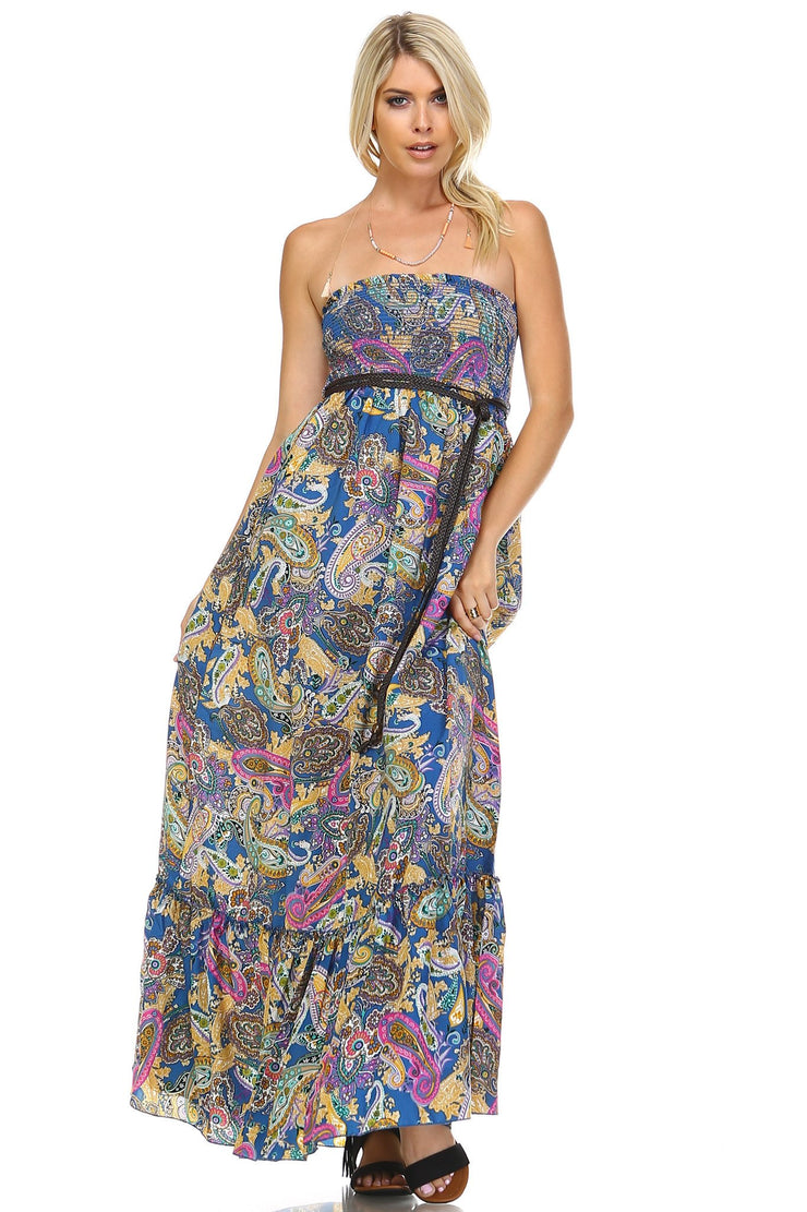 Women's Paisley Printed Strapless Belted Maxi Dress