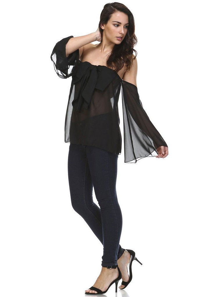 Women's Solid Black Cold Shoulder Bow Front Top
