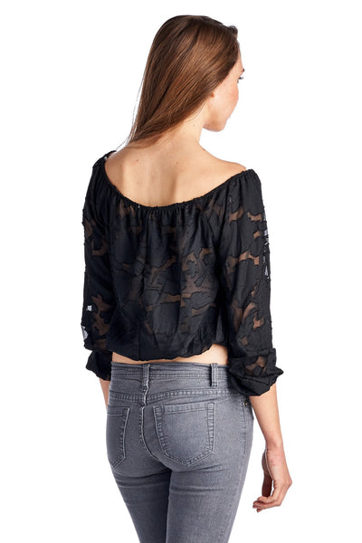 Women's 3/4 Three Quarter Sleeve Burnout Crop Top