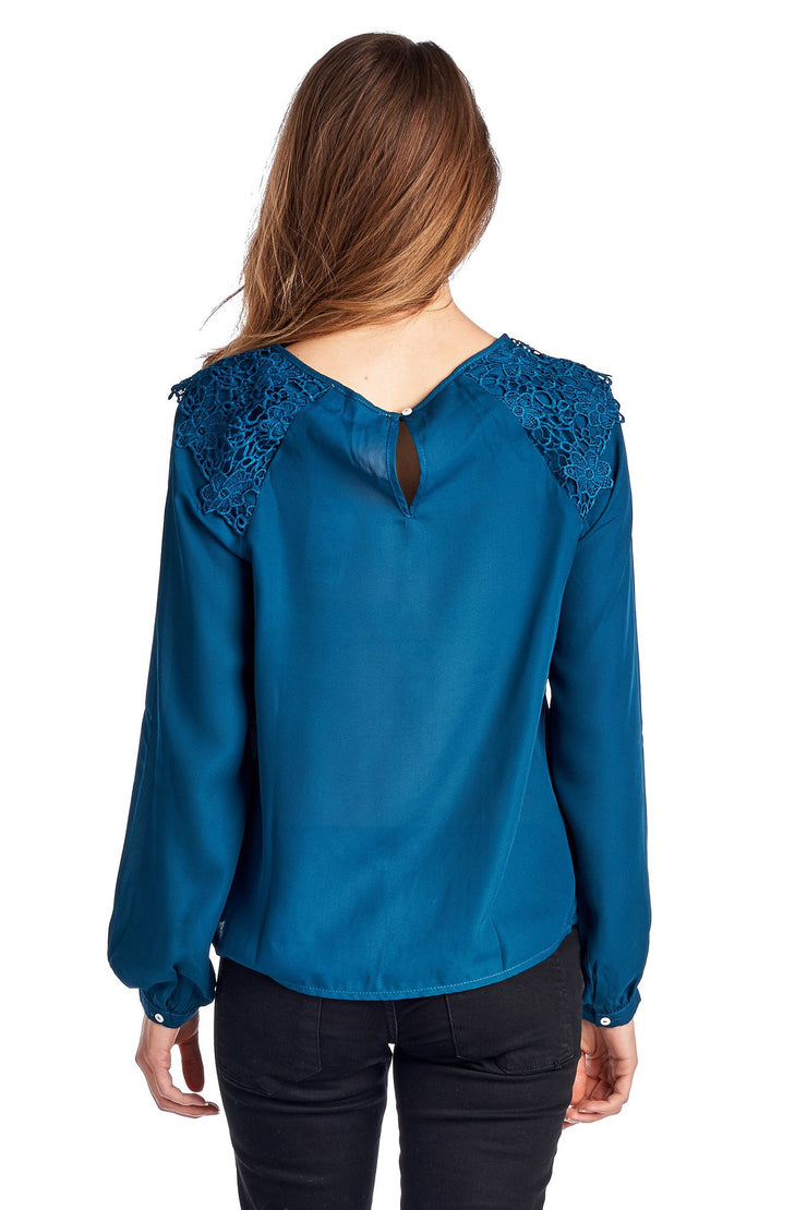 Women's Lace-Accent Pleated Scoop Neck Top