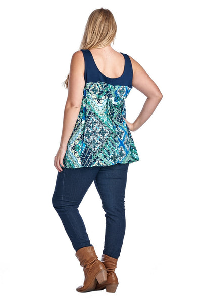 Women's Plus Size Back Tie Framed Top