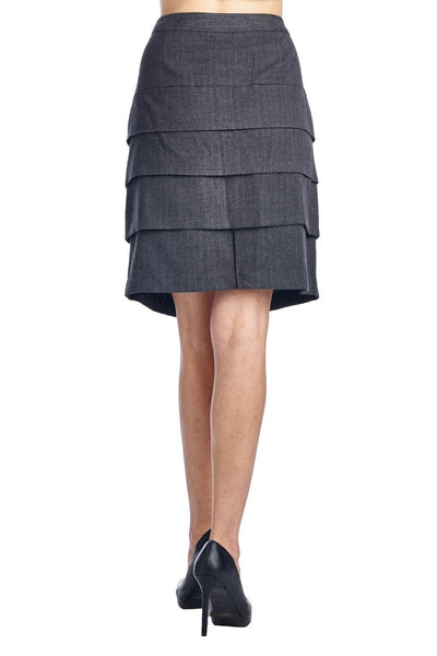 Larry Levine Grey/White Stretch Tiered Pinstripe Skirt
