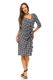Women's 3/4 Three Quarter Sleeve Midi Dress with Geometric Pattern