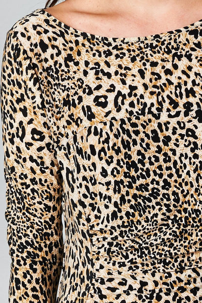 Women's 3/4 Three Quarter Sleeve Leopard Printed Sheath Dress
