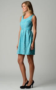 Women's Belted Fit & Flare Lace Dress