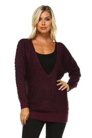 Women's Mixed Knit Deep V Sweater