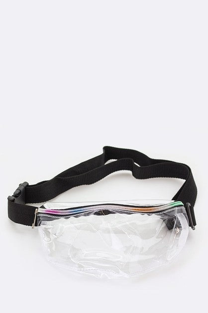 Clear Rainbow Zipper Fannie Pack