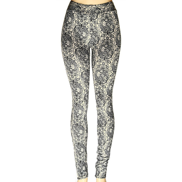 *Black and Tan Floral Leggings - g.e.llc•Style