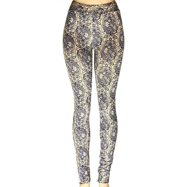 *Blue and Tan Floral Leggings- Once Size - g.e.llc•Style