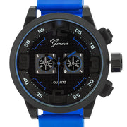 Men's Blue Silicone Chronograph Watch - g.e.llc•Style