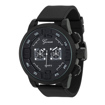 Men's Geneva Pure Black Sports Watch - g.e.llc•Style