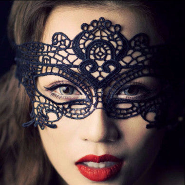 Black Lace Crochet Facial Veil Mask