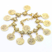 "*[ANK]-Ethnic Flower & Coin Antique Silvertone Anklet - jewelz by julz...""The Collection!"""