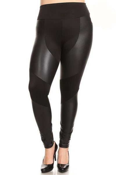Faux Leather and Fabric Leggings