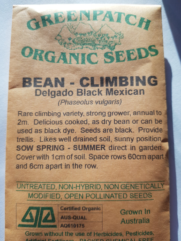 Green Patch Organic Seeds - `Climbing Bean Delgado Black Mexican