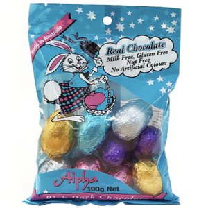 Alpha Dairy Free Chocolate Eggs 100g - 10 egg pk - PREORDER OPEN