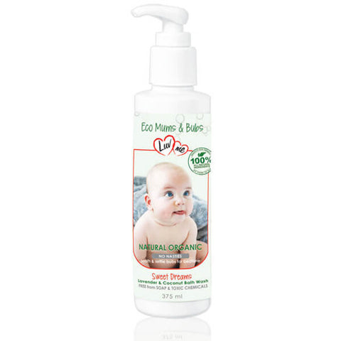 Luvme 100% Natural Baby Wash – Lavender & Coconut 375ml