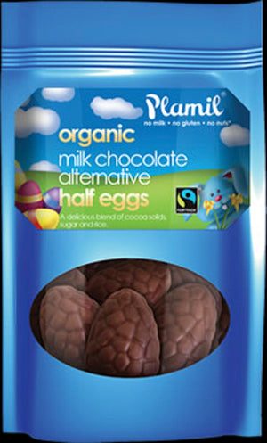 Plamil Organic Dairy Free Rice Milk Chocolate Half Eggs 125g