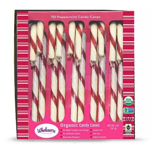 Wholesome Organic Candy Canes - Vegan, Fair trade, Dairy free, gluten free, egg free, nut free