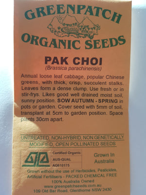 Green Patch Organic Seeds  - Pak Choi