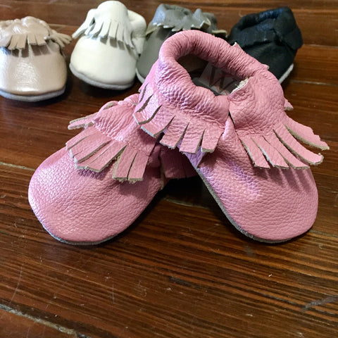 Leather Baby Moccasins - Petal Pink