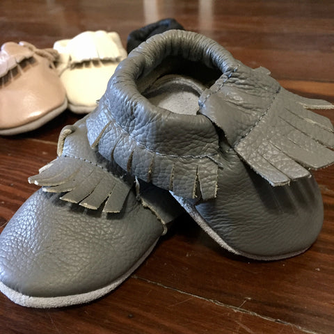 Leather Baby Moccasins - Stone Cold Rocker