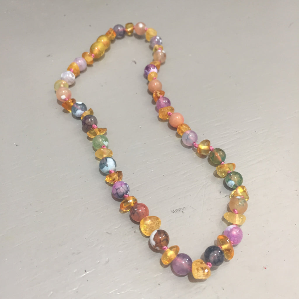 Baltic Amber and Assorted Agate Teething Necklace