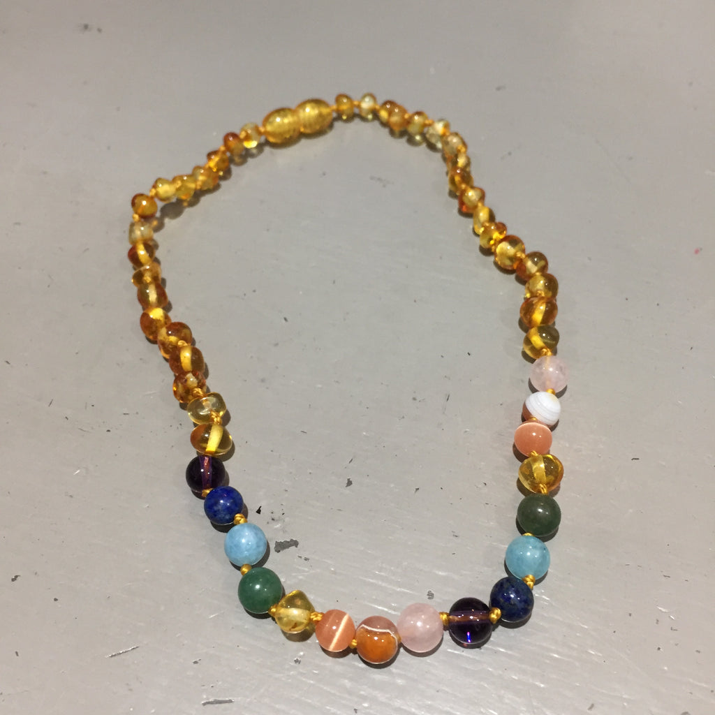 Baltic Amber and Rainbow Teething Necklace