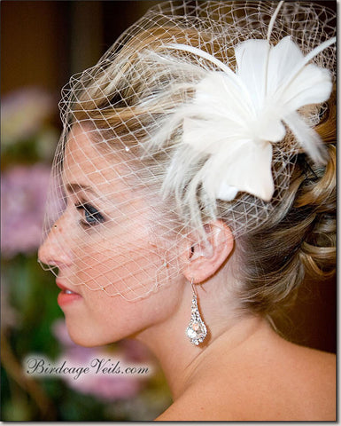 Birdcage Veil - Emma Sheer Edge With Rhinestones