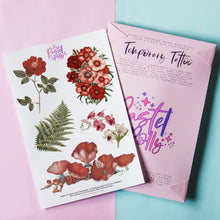 Load image into Gallery viewer, Vintage Florals Temporary Tattoo Pack
