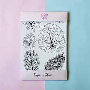 Temporary Tattoo - Black & White Leaves Temporary Tattoo Pack