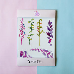 Temporary Tattoo - Watercolour Vines Temporary Tattoo Pack