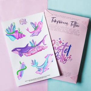 Temporary Tattoo - Watercolour Whales Temporary Tattoo Pack