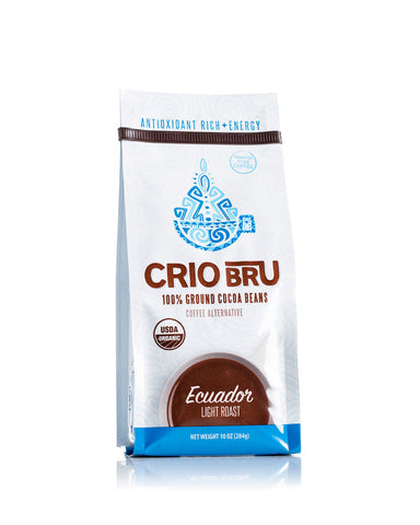 Crio Bru Ecuador Light Roast Ground Cocoa Bean 10 oz bag - Amarillo Grape and Olive