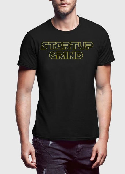 Startup Grind Black Half Sleeves Round Neck Star, Men's Clothing, Spocket, Bad Coilaid Vapors