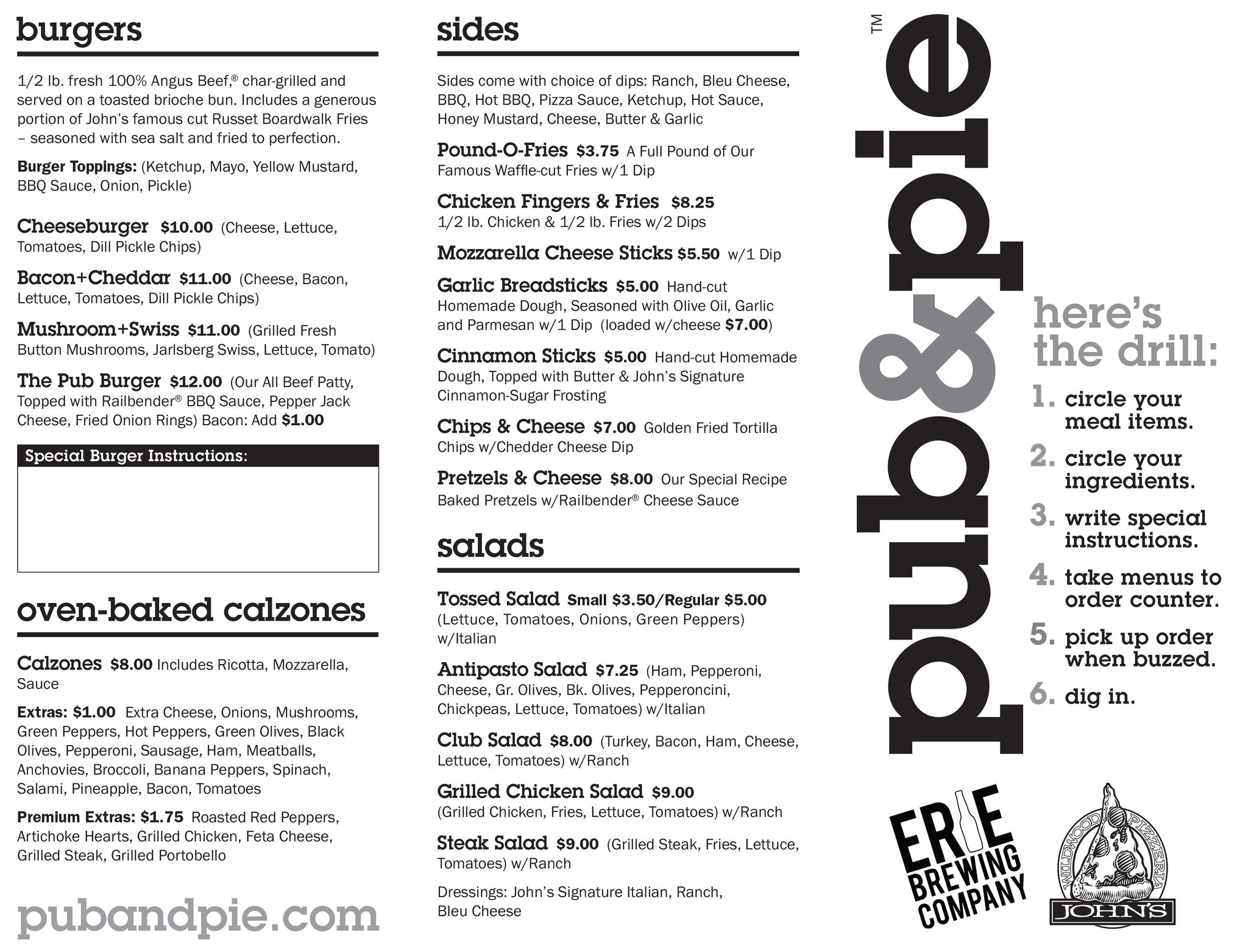 Pub and Pie Menu