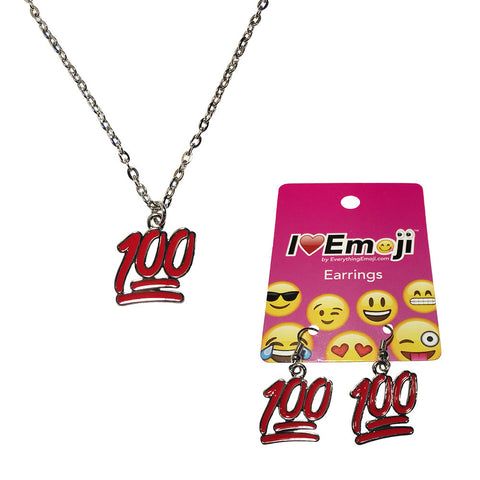 Emoji Women's Chain Necklace & Drop Earrings - 100% Symbol