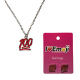 Emoji Women's Chain Necklace & Stud Earrings - 100% Symbol