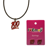 Emoji Women's Rope Necklace & Stud Earrings - 100% Symbol
