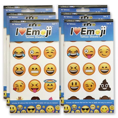 Emoji Temporary Tattoo 6-Pack Set (180 Tattoos)