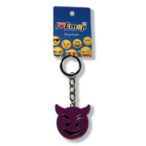 Purple Devil Emoji Silver Keychain : Everything Emoji