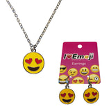 Emoji Women's Chain Necklace & Drop Earrings - Heart Eyes