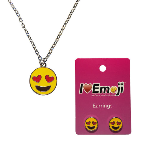 Emoji Women's Chain Necklace & Stud Earrings - Heart Eyes