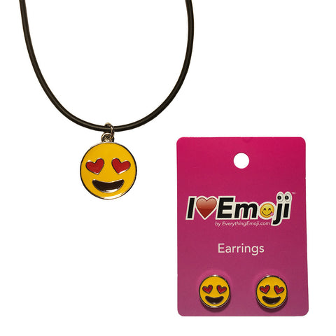 Emoji Women's Rope Necklace & Stud Earrings - Heart Eyes